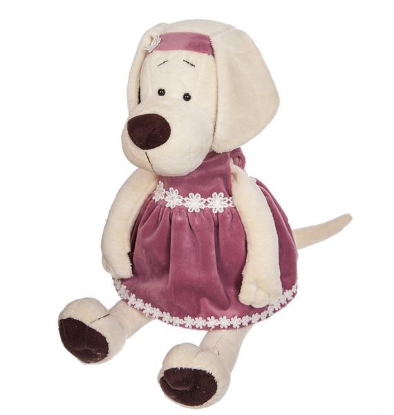 Мягкая игрушка Собачка Лапуска в бархатном платье мягкая игрушка собачка мила в платье 23см цвет бежевый