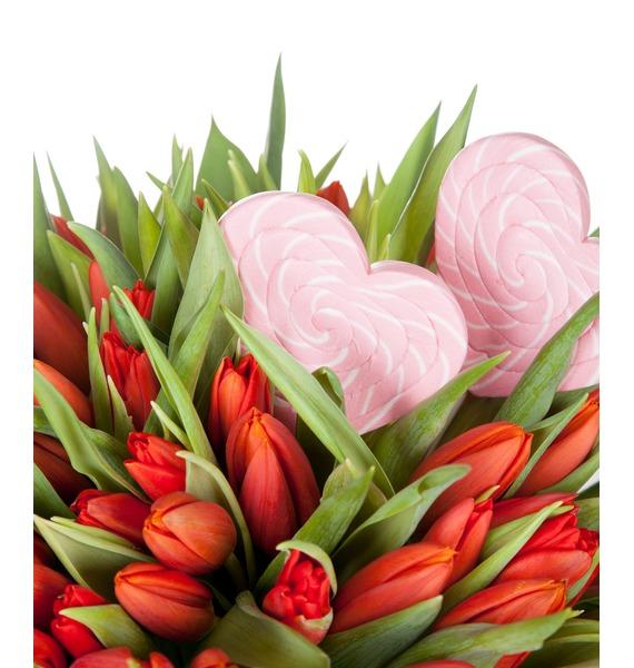 Букет из тюльпанов Пламенная любовь (51 или 101) – фото № 4
