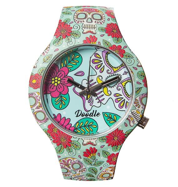 """Часы Doodle """"Цветы и черепа"""""""