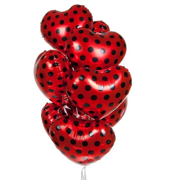 Букет шаров Красные сердца (9 или 18 шаров) – фото № 1