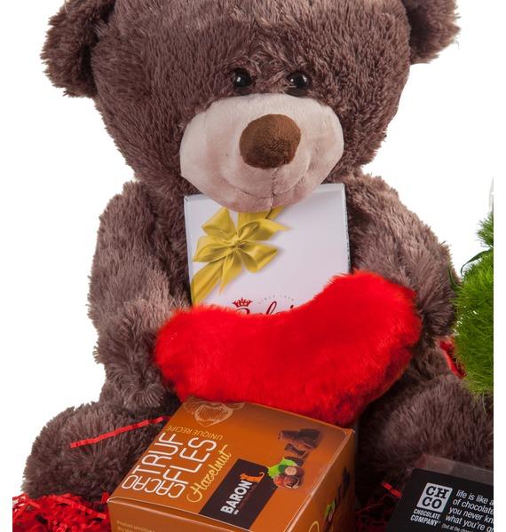 Подарочное кашпо с букетом С любовью! – фото № 3