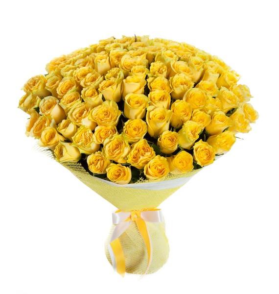 Букет из 101 желтой розы Ты мое Солнце кружка мое солнце