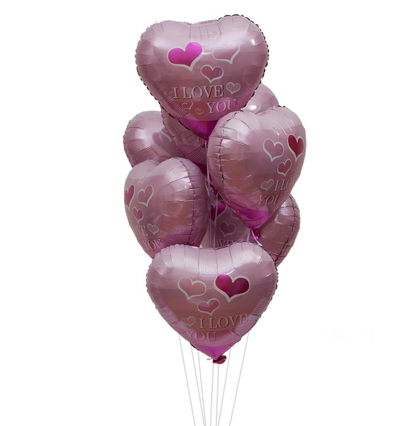"""Букет шаров """"Я Люблю Тебя! (летящие сердечки)"""" (7 или 15 шаров)"""