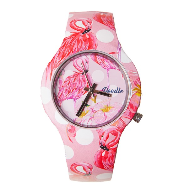 Часы Doodle Фламинго