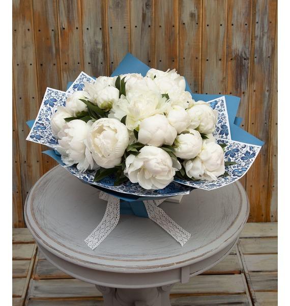 """Букет-соло пионов """"Седьмая октава"""" (15,25,35,51 или 75) картина прекрасный букет нежных розовых пионов 14 5 х 22 см"""