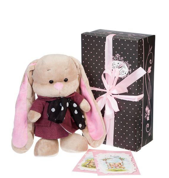 Мягкая игрушка Зайка Лин в розовом пальто со стильным шарфом (25 cм) trousselier мягкая игрушка зайка с музыкой розовый 25см trousselier page 1