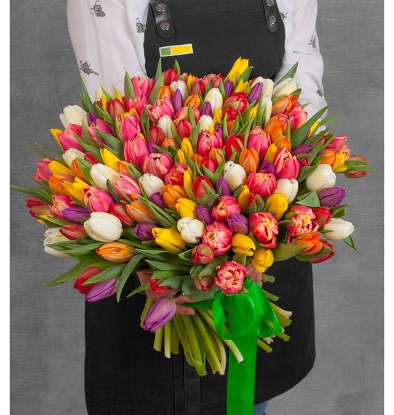 Букет из тюльпанов «Краски любви» (75 или 101) amf стул amf луиза н 36 красный 864bj8w