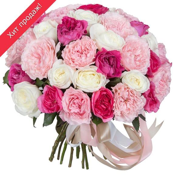 Букет из пионовидных роз Феерия (15, 25 или 51) букет лизиантусов 15 25 или 51