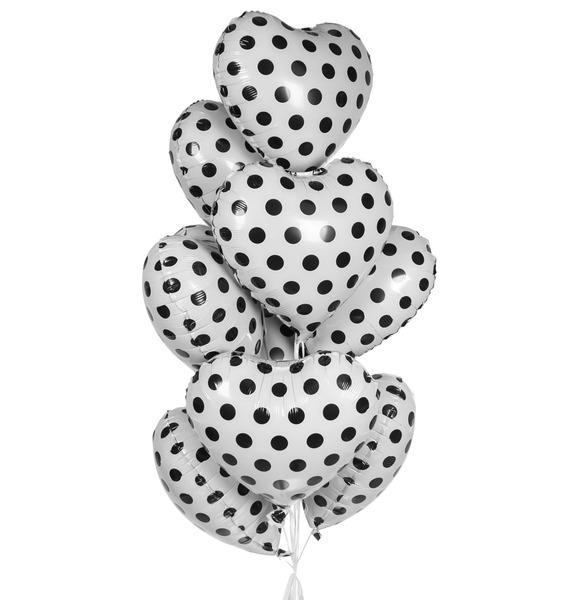 Букет шаров Белые сердца (9 или 18 шаров) – фото № 1