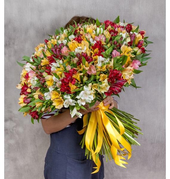 Bouquet Fires (51, 101 or 151 alstroemeria) – photo #1