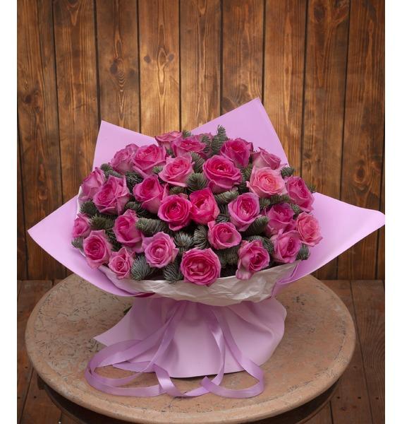 Букет-соло розовых роз (15,25,35,51,75 или 101) букет из красных роз первый поцелуй 15 21 25 или 35