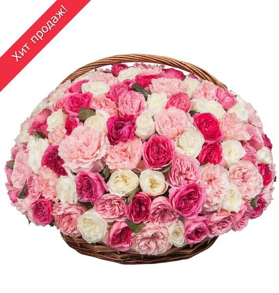 Композиция из пионовидных роз «Восторг» (101, 201, 301) композиция из 555 роз магия любви