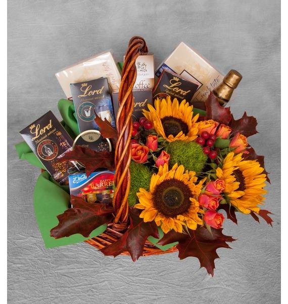 Подарочная корзина Осенний вечер (Бренди в подарок) – фото № 1