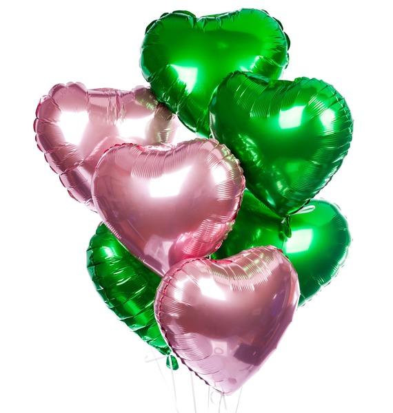 Букет шаров Летние сердца (7 или 15 шаров)