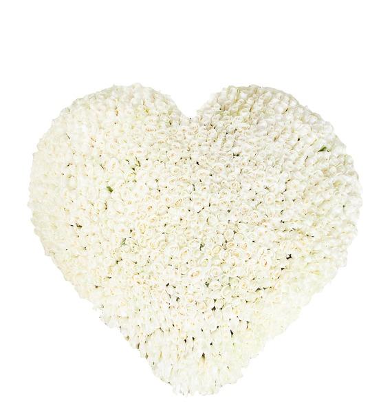 Композиция из 1001 белой розы Сердце Ангела композиция из 201 розы мишень купидона