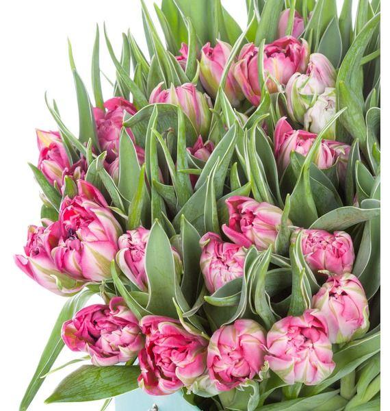 Пионовидные тюльпаны Flash Point в вазе – фото № 2