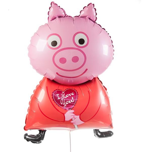 Воздушный шар Поросенок с сердцем (81 см) воздушный шар поросенок с игрушкой 79 см