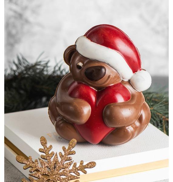 Шоколадная фигрука Мишка с сердцем – фото № 1