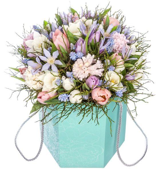 Композиция в вазе Весенние цветы картина цветы в коричневой вазе холст масло 75х75 см