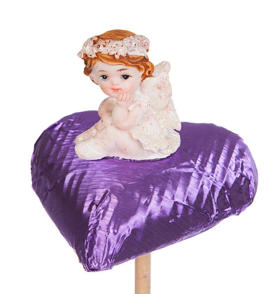Шоколадная вставка в букет Сердце с ангелом букет шоколадная открытка торт со свечами