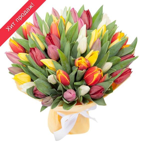Букет из тюльпанов «Понравится всем» (31 или 51) разноцветное настроение букет разноцветных тюльпанов