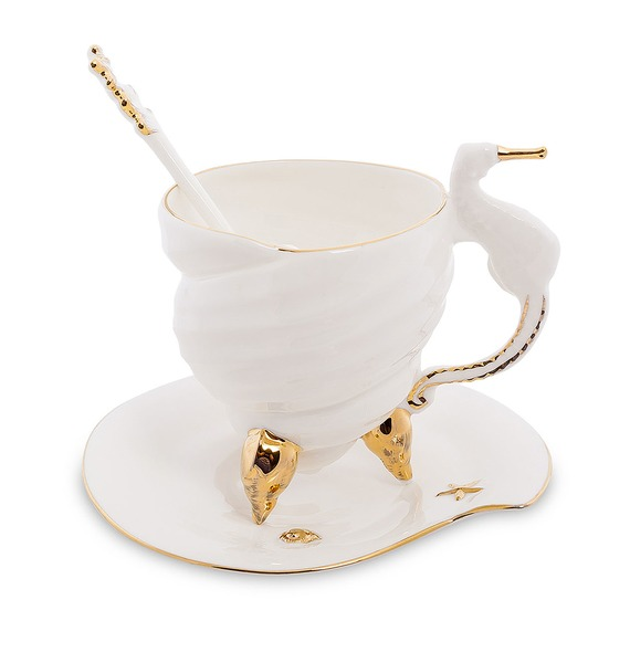 Чайная пара Морская ракушка (чашка, блюдце и ложка, Pavone) – фото № 1