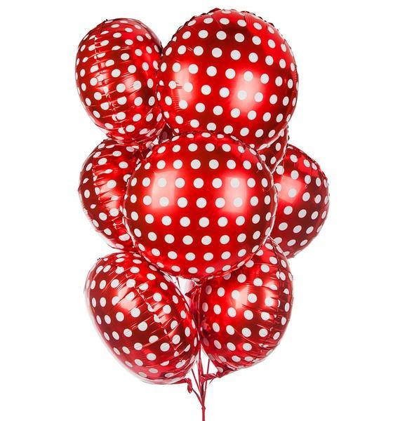 Букет шаров Горошек на красном (7 или 15 шаров) букет шаров сладкий пончик 5 или 9 шаров