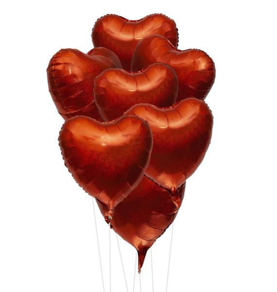 Фото - Букет шаров Оранжевые сердца. Голография (7 или 15 шаров) букет шаров красные сердца 9 или 18 шаров