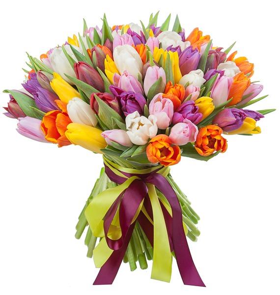 Букет из тюльпанов Краски любви (75 или 101) – фото № 5