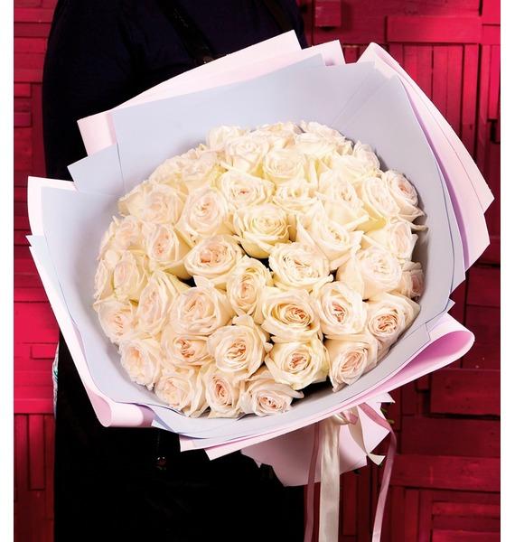 """цены Букет-соло ароматных роз """"White O""""Hara"""" (15,25,35,51 или 75)"""