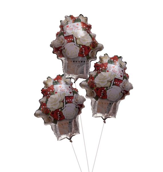 Фото - Букет шаров Красные и белые розы (3 или 5 шаров) букет шаров красные сердца 9 или 18 шаров