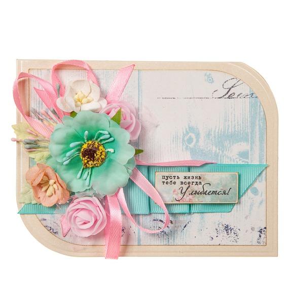Открытка ручной работы Пусть жизнь тебе всегда улыбается арт дизайн подарочный набор открытка с ручкой самой фееричной тебе