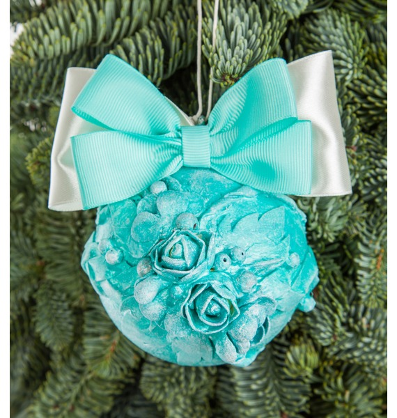 Новогодний шар ручной работы с открыткой (цвет бирюза) arti m шар новогодний mattaniah 6х7 см
