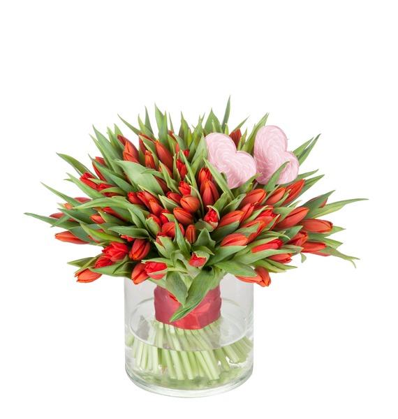 Букет из тюльпанов Пламенная любовь (51 или 101) – фото № 1