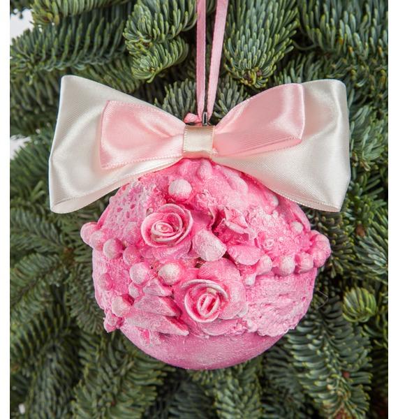 Новогодний шар ручной работы с открыткой (цвет розовый) arti m шар новогодний mattaniah 6х7 см