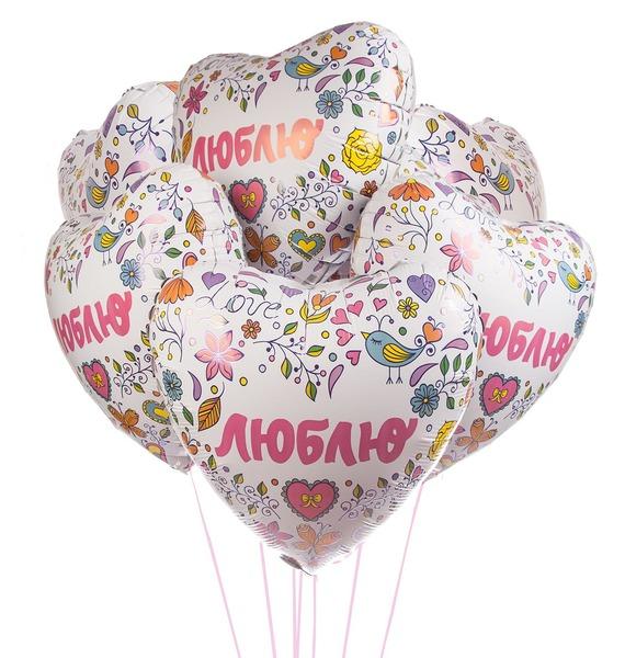 Букет шаров Люблю (7 или 15 шаров)