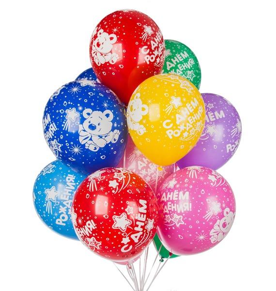 Букет шаров С Днем Рождения (мишки) (15 или 31 шар) – фото № 1