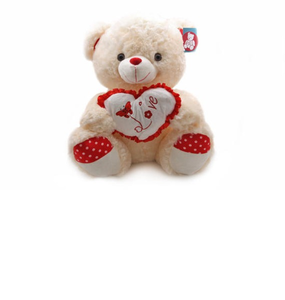 мягкая игрушка медведь choco сидячий в вязанной шапке с сердечками Мягкая игрушка Медведь с сердцем (100 см)
