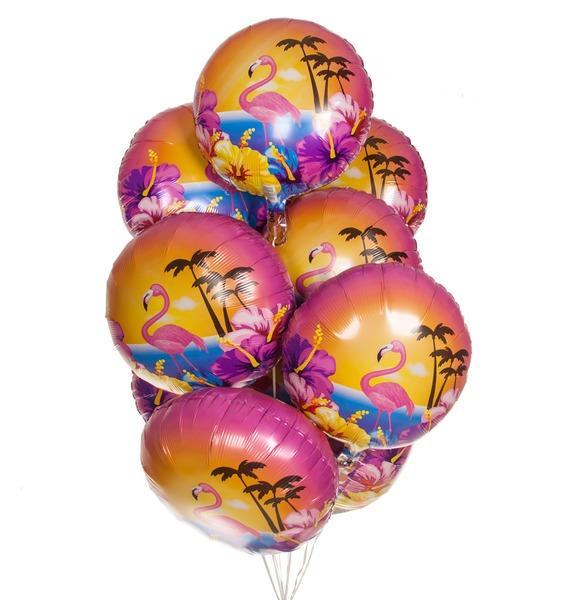 Букет шаров Фламинго и гибискусы (9 или 18 шаров) букет шаров россия 9 или 18 шаров