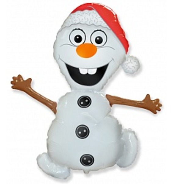 "Воздушный шар ""Снеговик"" (81 см) шар снеговик на коньках 10 см"