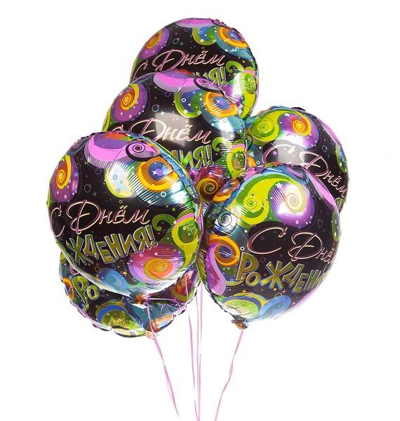 Букет шаров С Днем Рождения (завитки) (7 или 15 шаров)