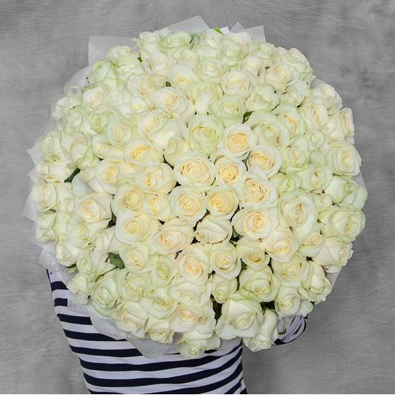 """Букет из 101 белой розы """"Счастье"""""""