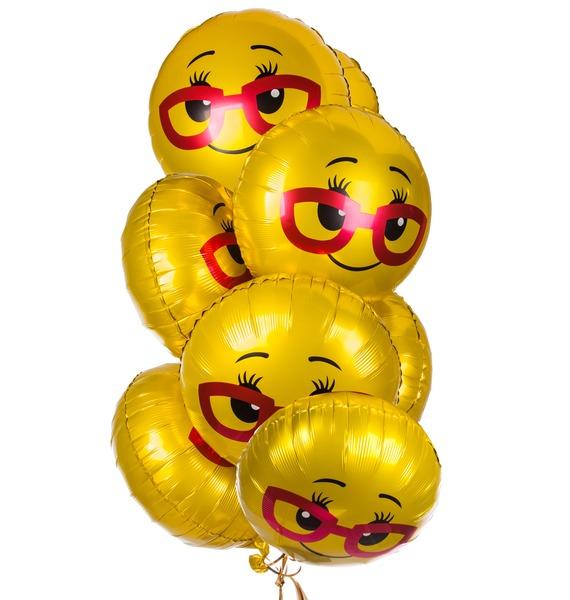 Фото - Букет шаров Смайл в очках (7 или 15 шаров) конструктор автомобильный парк 7 в 1