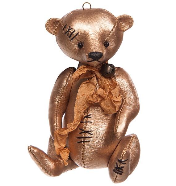 Игрушка-брелок ручной работы из эко-кожи Мишутка