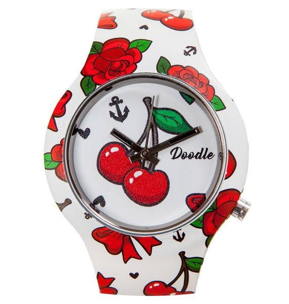 Часы Doodle Черри часы doodle мультяшный кот