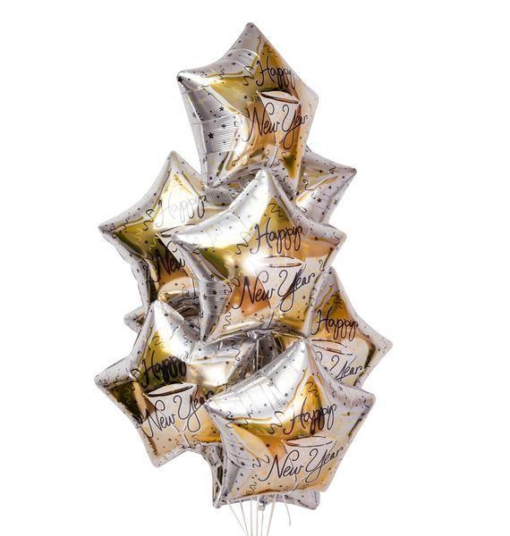 Букет из 9 шаров Пожелание С Новым годом – фото № 1