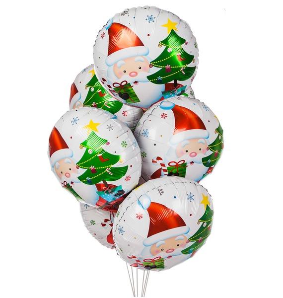 Букет шаров Дед Мороз с подарками (7 или 15 шаров) snowlife набор из 6 шаров елочных дед мороз диам 75 мм