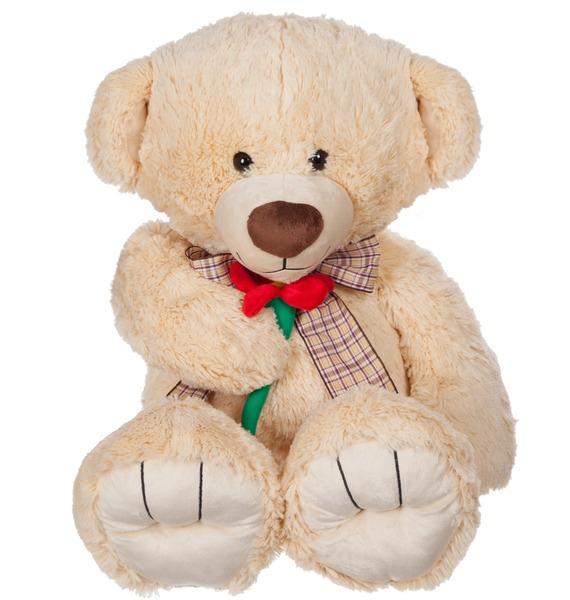 """Мягкая игрушка """"Медвежонок с цветком"""" (65 см)"""