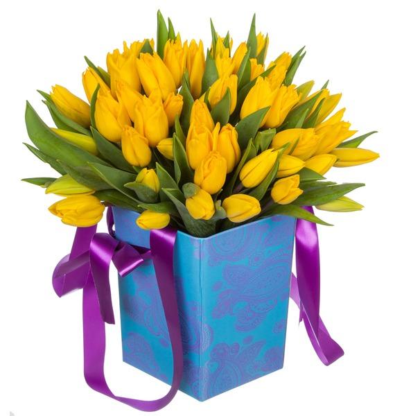 Композиция из желтых тюльпанов в вазе – фото № 5