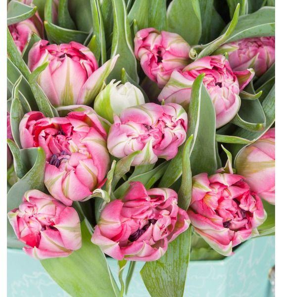 Пионовидные тюльпаны Flash Point в вазе – фото № 4